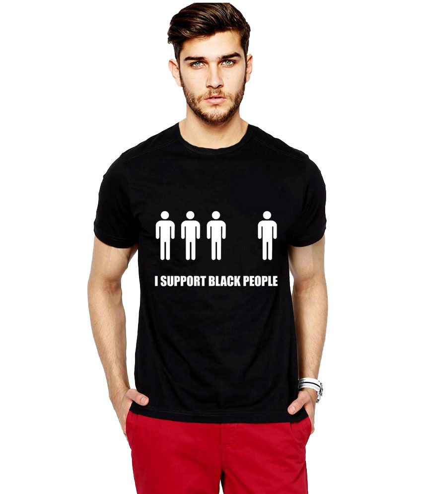 Ilyk Support Black People Men Black Printed T-shirt