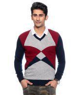 Fabtree Navy Woollen Blend V-neck Sweaters