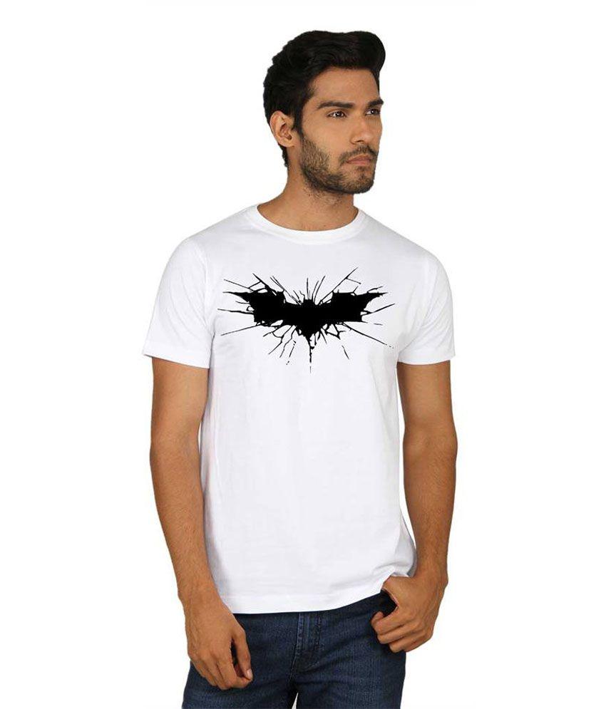 Sayitloud White Batman Printed Half Sleeve T Shirt