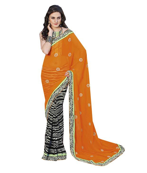 Shoppingover Orange Faux Georgette Embroidered Saree With Blouse Piece