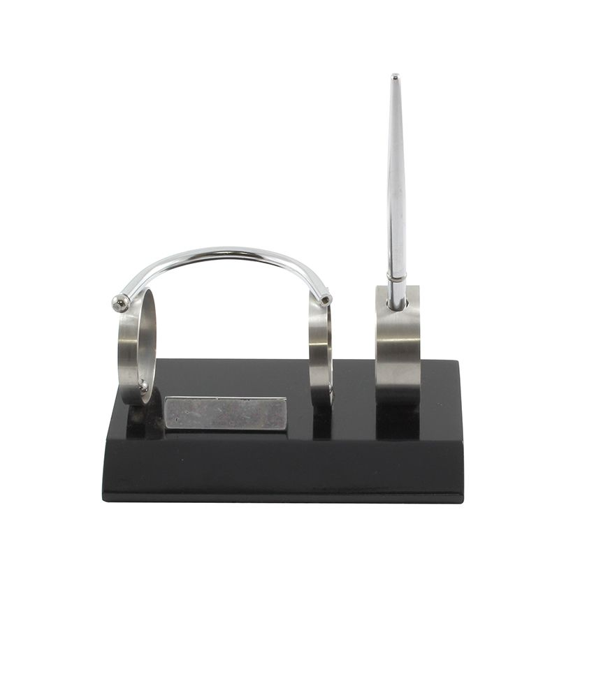 Radius Silver Stainless Steel Table Top Pen Stand And Business Card
