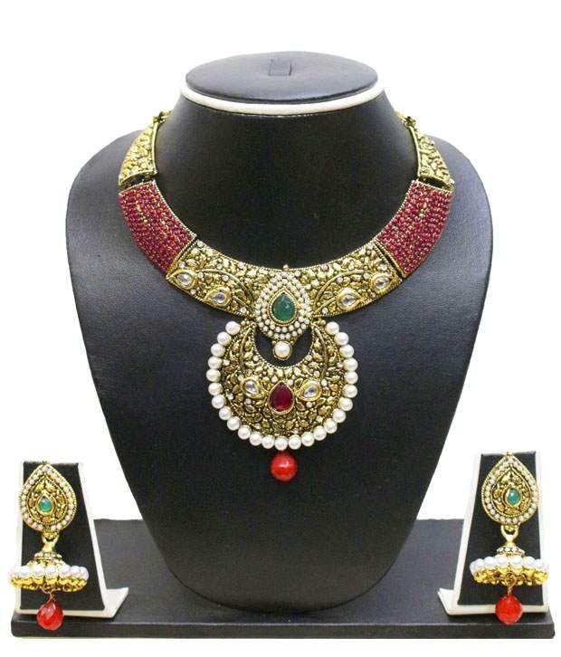 Zaveri Pearls Temple Jewellery Necklace Set