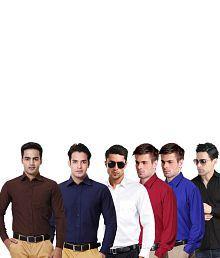 Blue Ocean Multi Cotton Blend Regular Casual Shirts - Combo Of 6