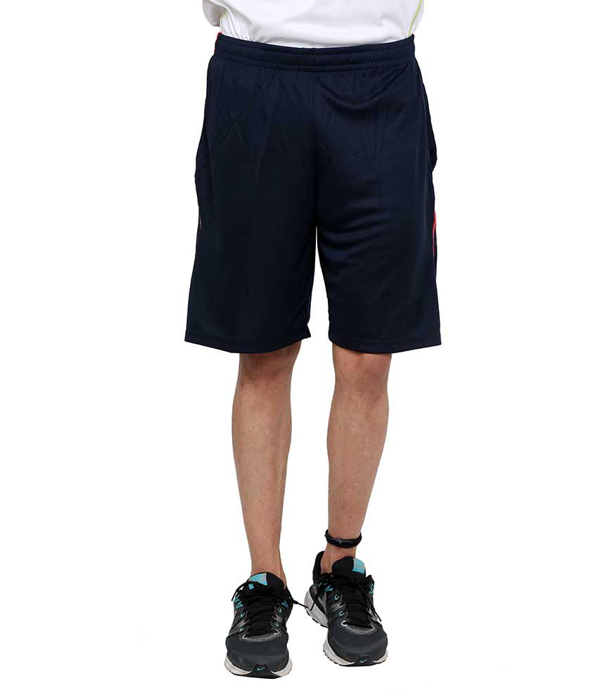 Dida  Navy Polyester Solid Shorts