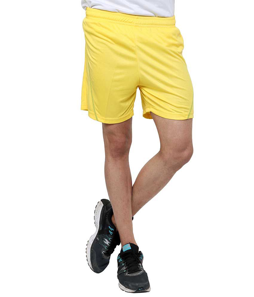 Dida  Yellow Polyester Solid Shorts