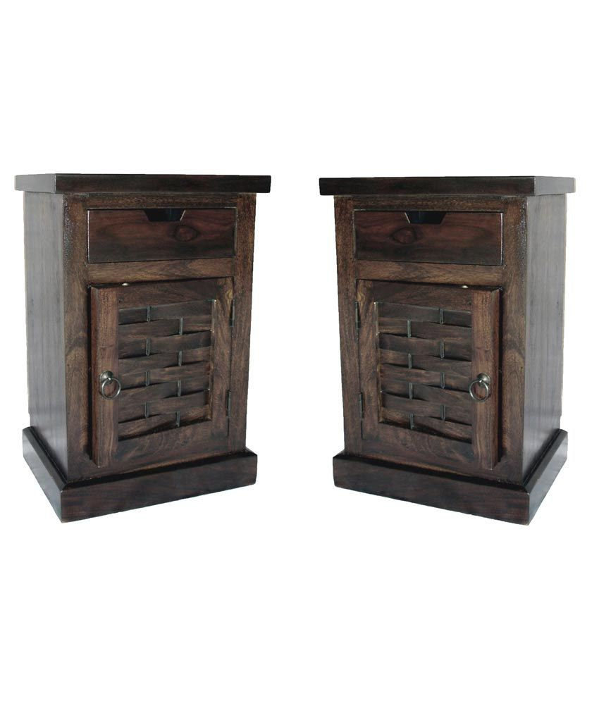 Junglewood Dark Walnut 1 Drawer 1 Door Designer Side Table