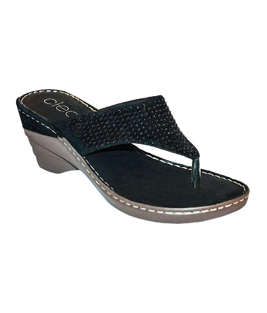 cce7502fe Khadim s Cleo Black Shimmer V-strap Heel Sandals Price in India- Buy  Khadim s Cleo Black Shimmer V-strap Heel Sandals Online at Snapdeal