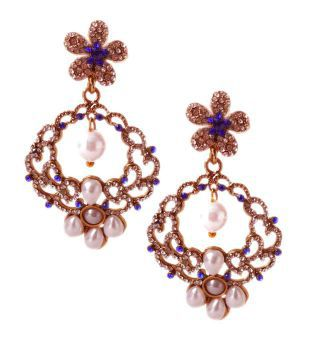 Rich Lady Blue Cream Earrings Online In India On Snapdeal