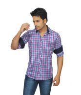 Private Image Stylish Checks Shirt -purple