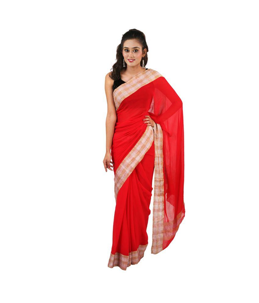 AALIYA FASHIONS Red Faux Chiffon Saree
