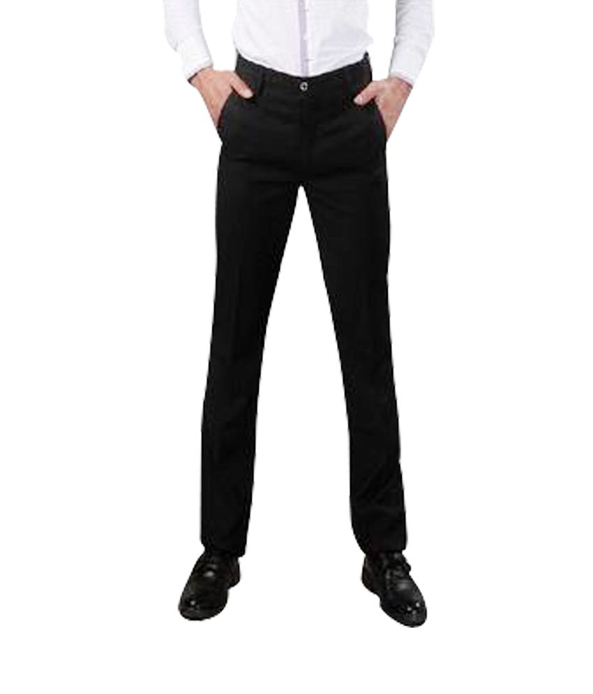 Romania Black Cotton Smart Trouser