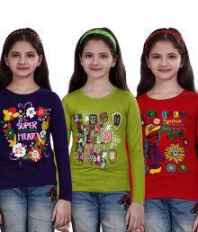 Sinimini Multicolor Cotton Full Sleeve Trendy Girls Top - Combo of 3 Pcs
