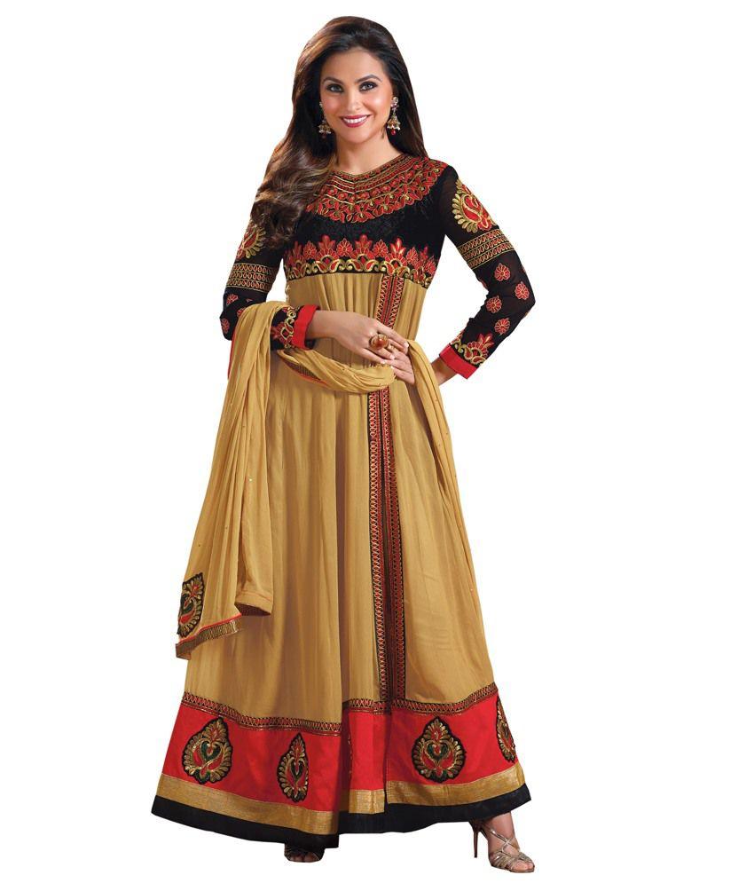 Craze N Demand Lara Dutta Beige Embroidered Anarkali Salwar Kameez (beige\/sand\/tan)