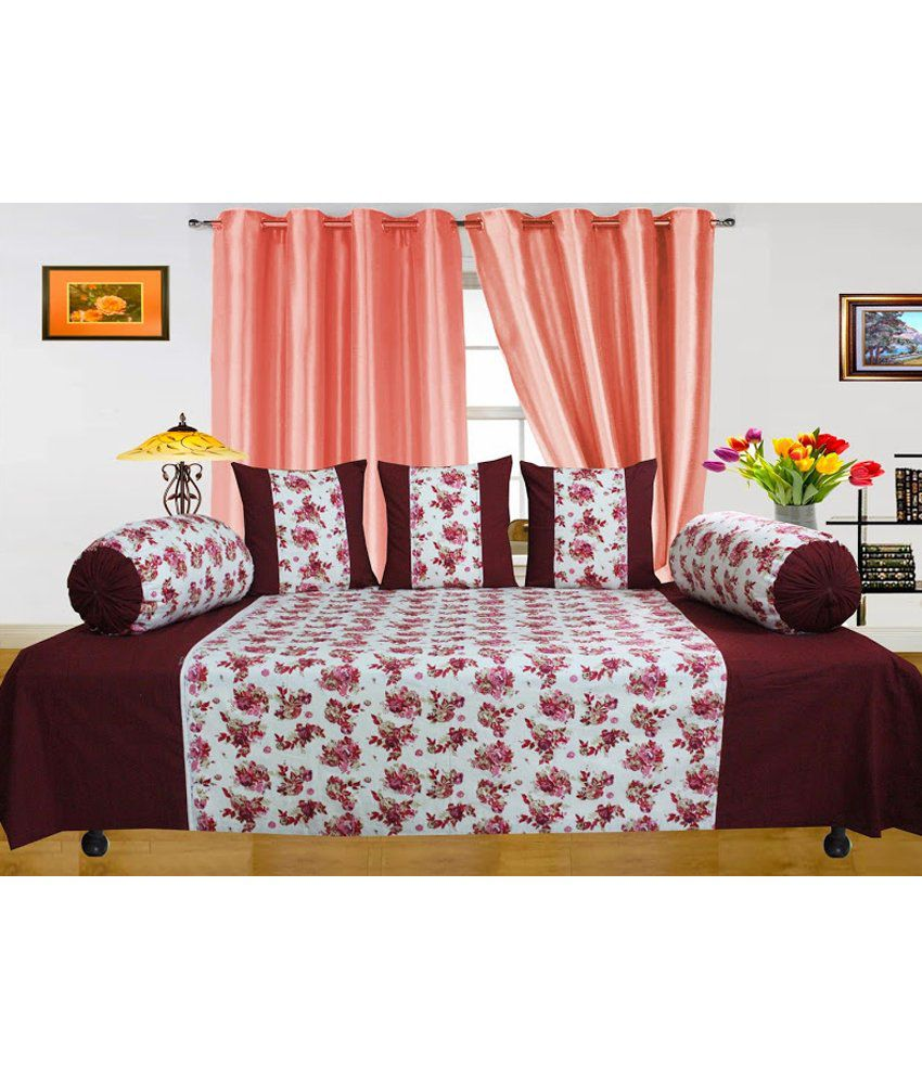 Dekor World Red And White Floral Cotton 1 Diwan Sheet, 3 Cushion Covers And 2 Bolster Covers