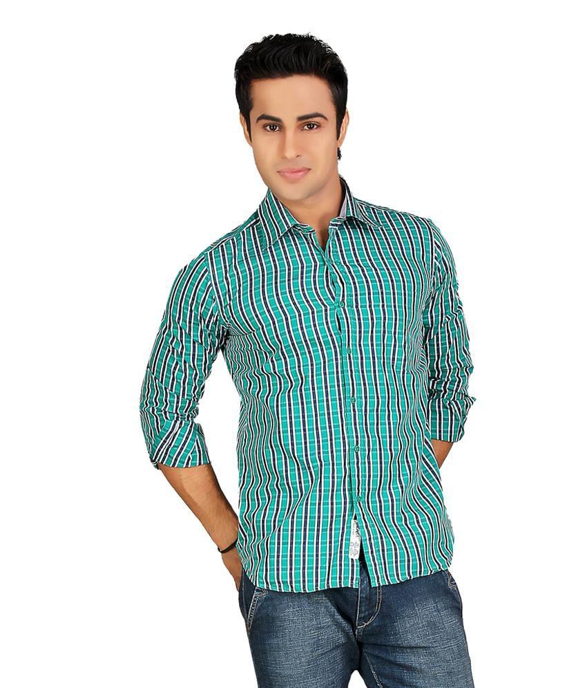 Encasa Stylish Green-dark Blue Checks Slim Fit Semi Formal Full Sleeves Shirt For Men | Jme363q1