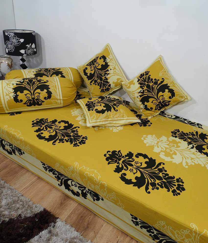Heritage beige ethnic cotton diwan set single bed sheet w for Double bed diwan set