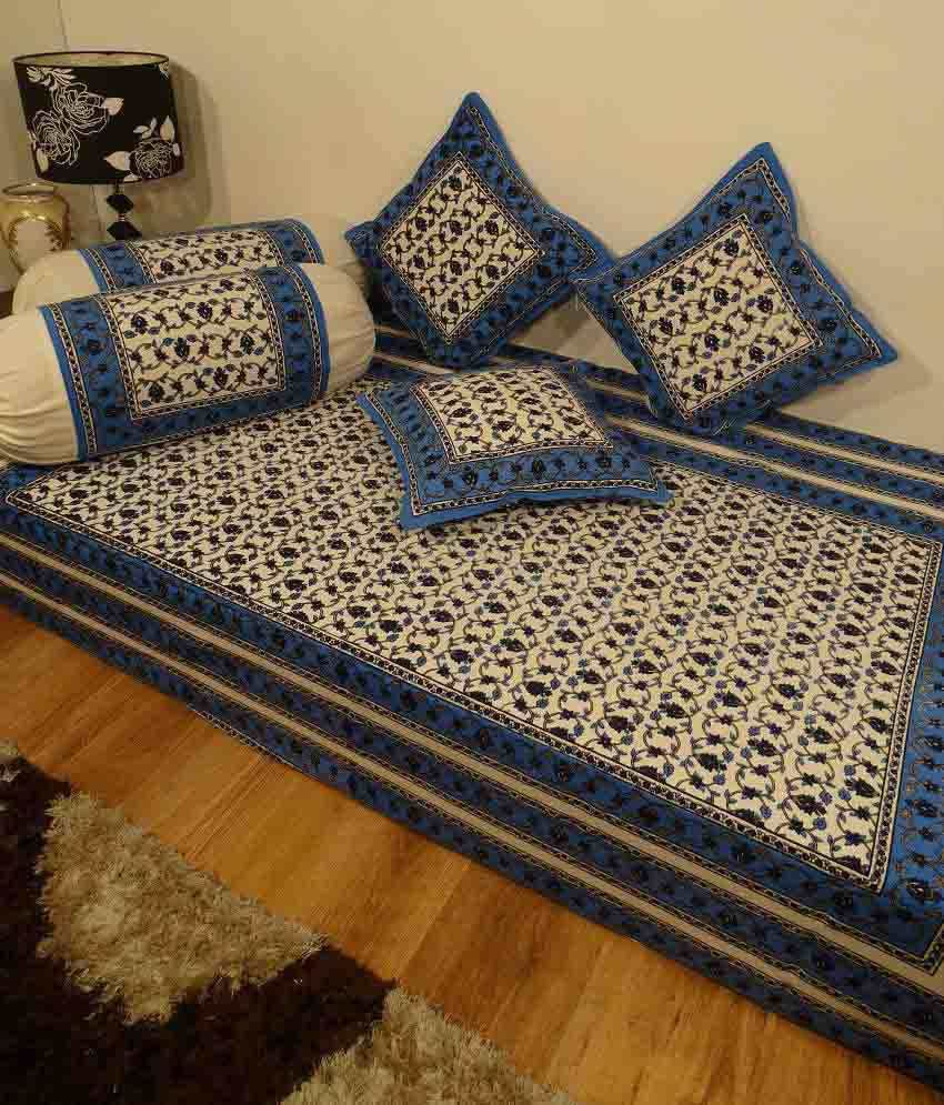 Heritage Blue Floral Cotton Diwan Set Single Bed Sheet W
