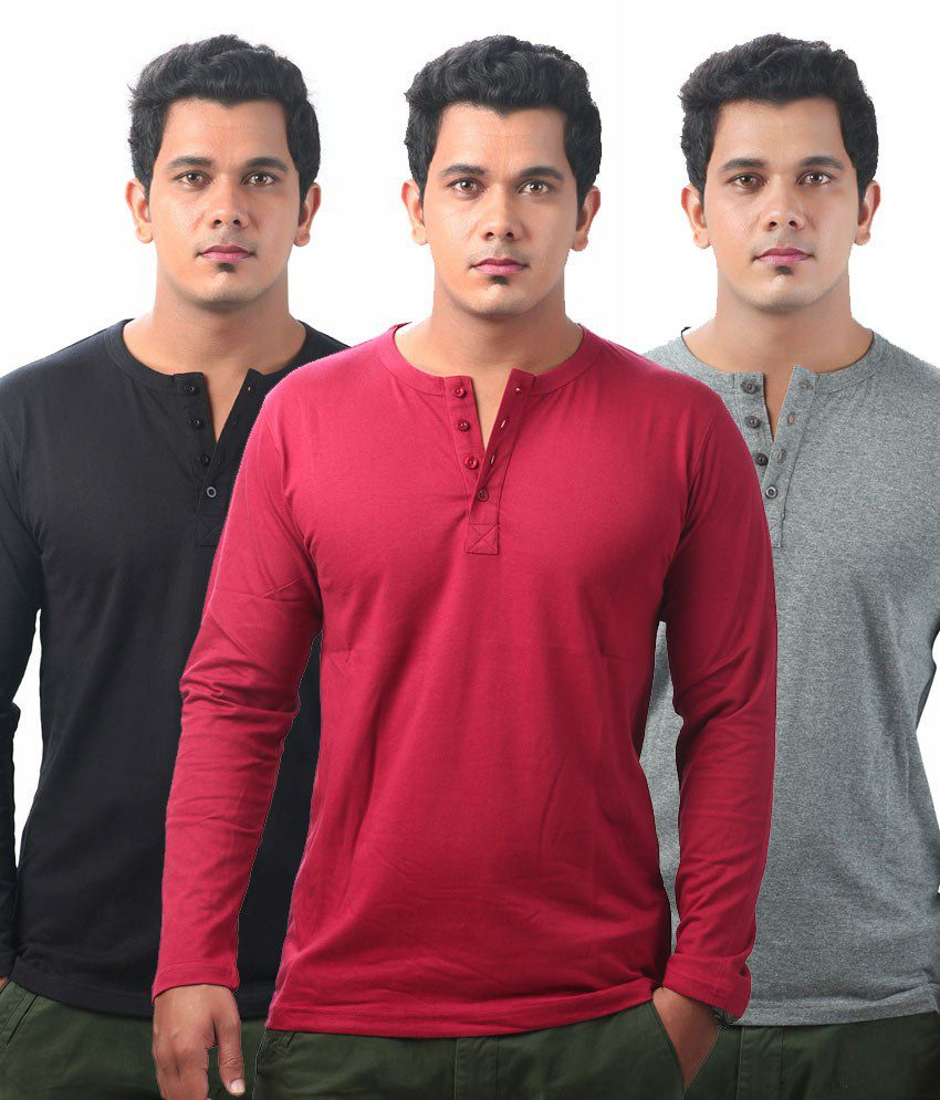 Krook Black-darkgrey-maroon Cotton Full Sleeves Henley T-shirt (pack Of 3)