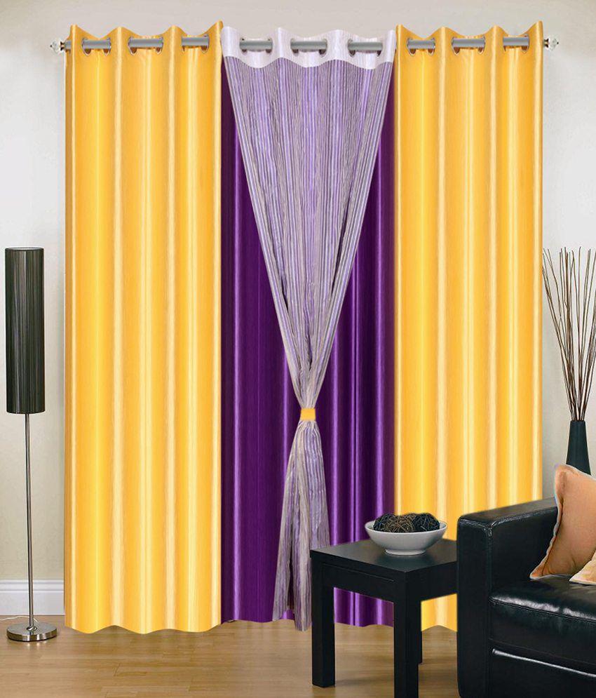 Madhav Product Set Of 4 Door Eyelet Curtains Solid Yellow Purple Buy Madhav Product Set Of 4