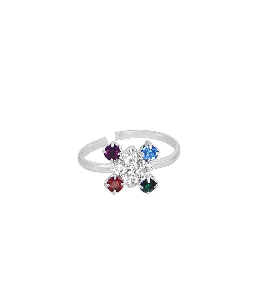 R S Jewels German Silver Cubic Zirconia Teo Ring