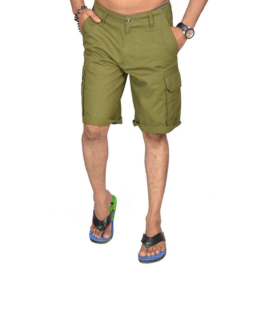 S.A.True Fashion Green Cotton Solids Capris