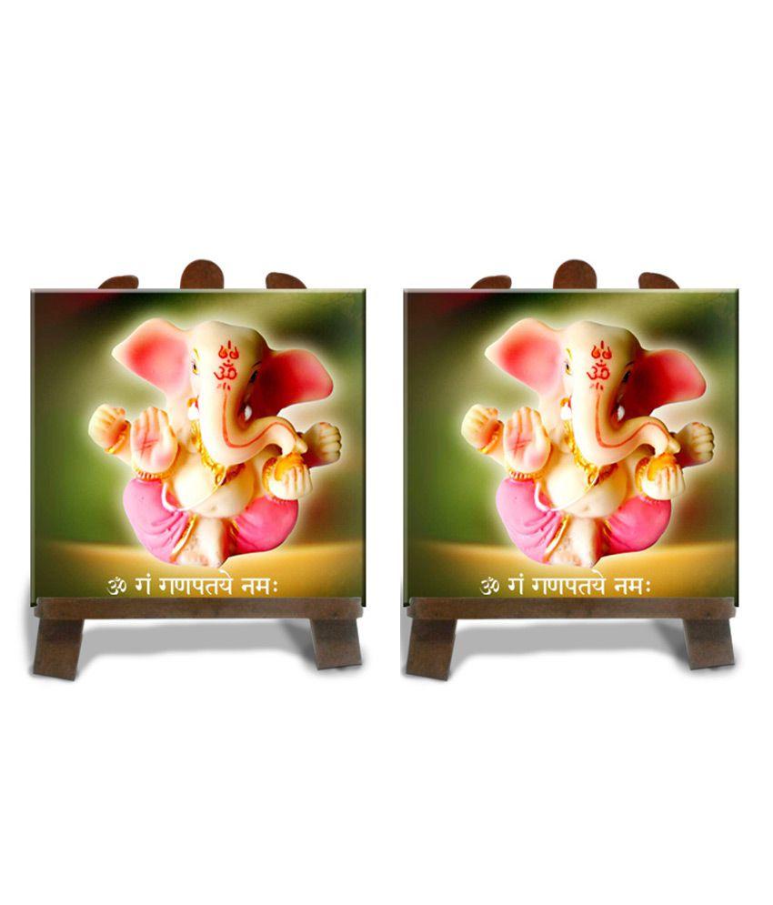 Tiedribbons Green And Yellow Ceramic Lord Ganesh Idol (buy 1 Get 1 Free)