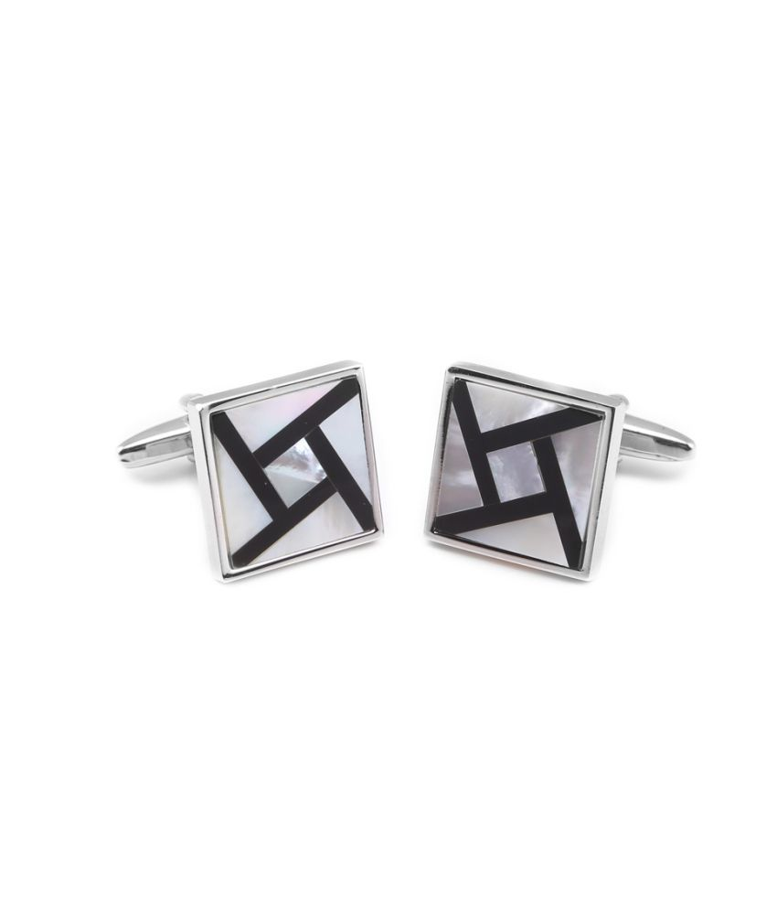 Tossido Black & White Metal Stone Cufflinks