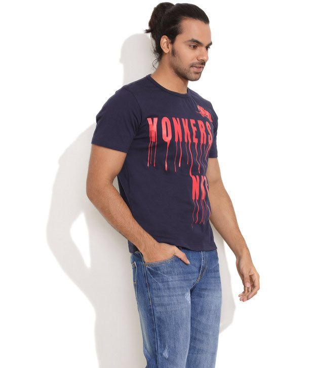 Yonkers Nyc Dark Blue Stay Cool Cotton T-Shirt