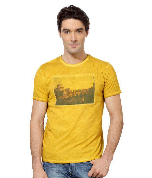 Van Heusen Yellow Cotton T-shirt