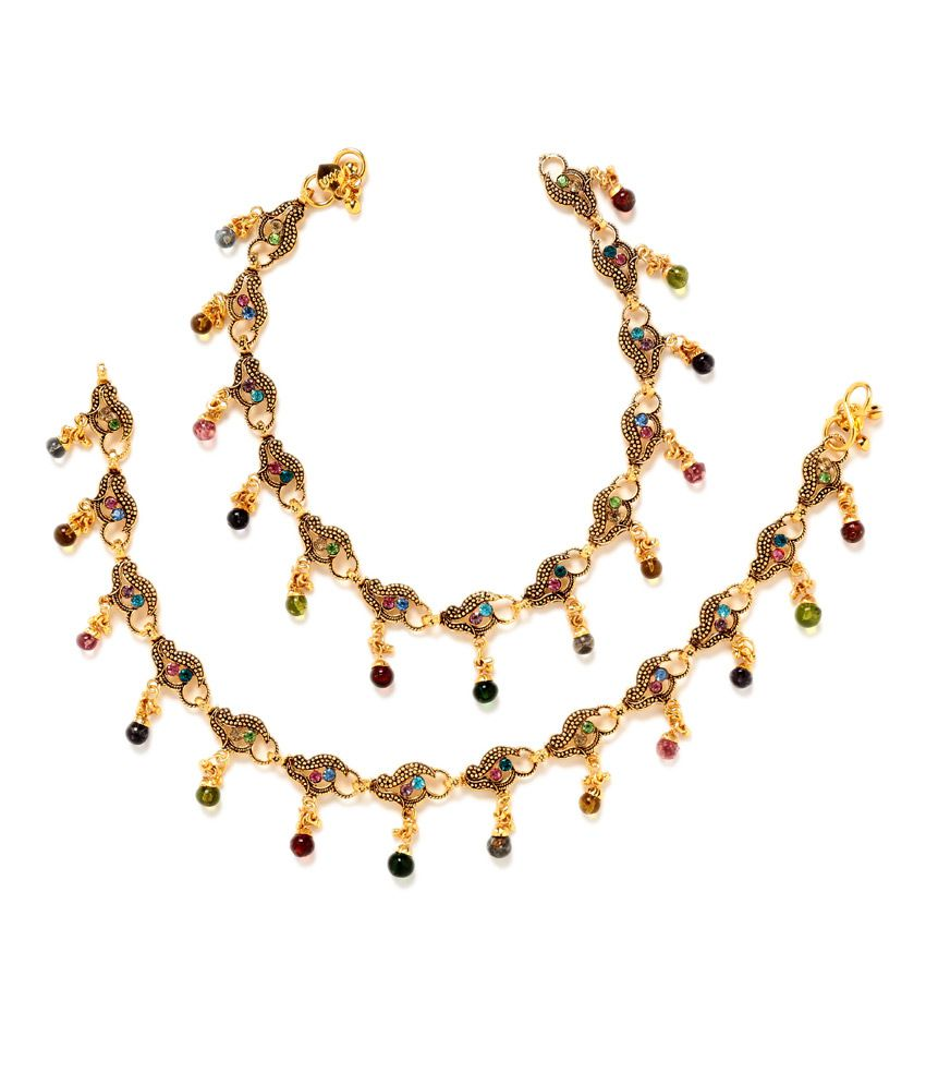 Gold Plated Pretty Antique Finish Multicoloured Pair of Anklets by GoldNera