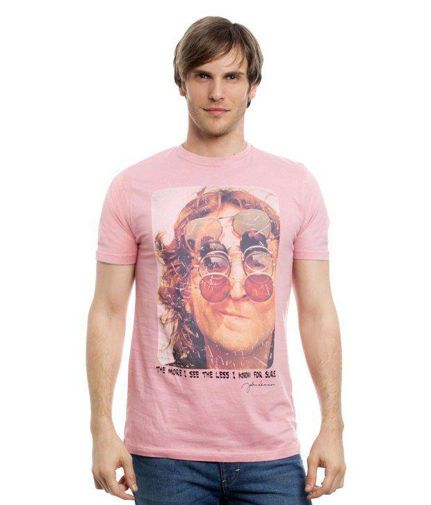 People Pink Cotton T-shirt