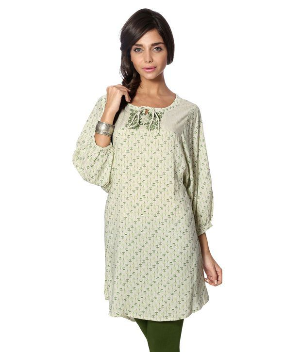 People White And Green Kurti