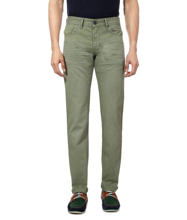 Peter England Green Slim Jeans