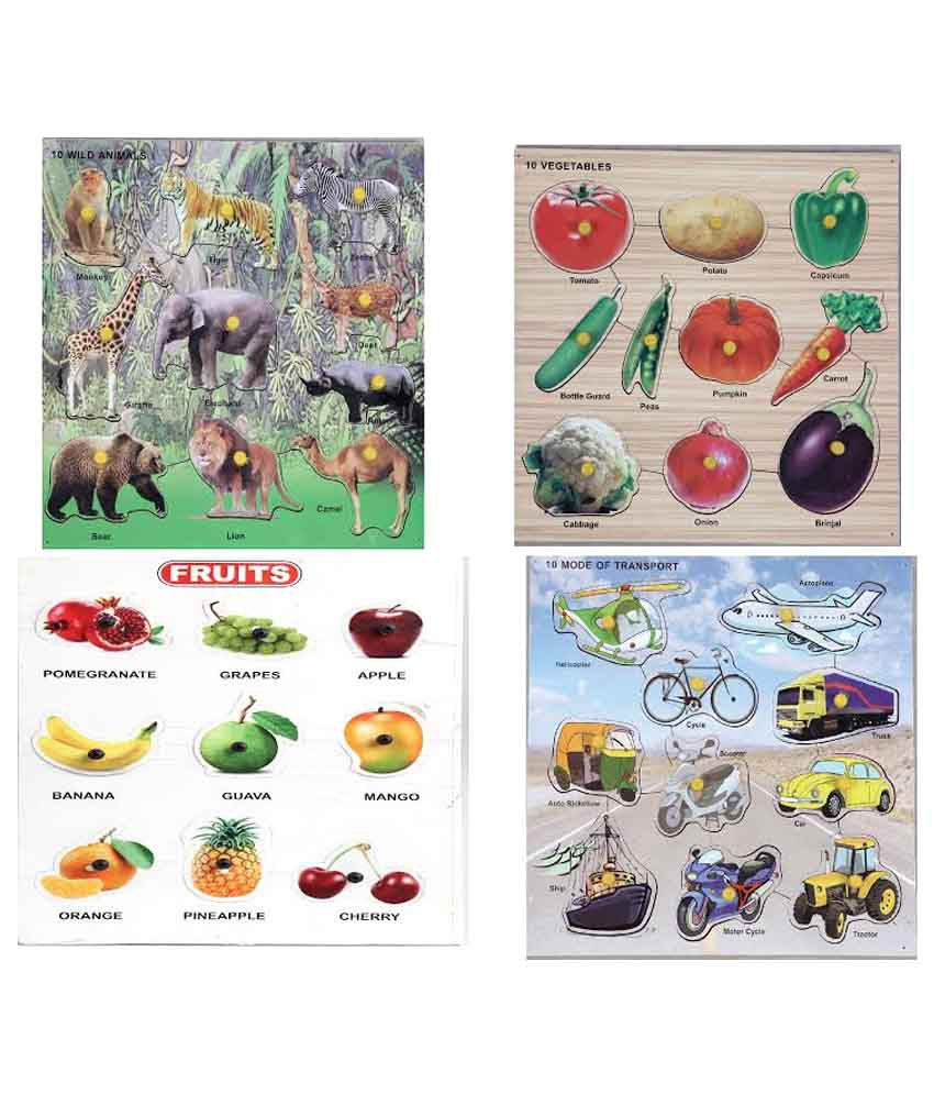 LOVELY Wooden Combo of Animals, Vegetables, Fruits & Transport Puzzles
