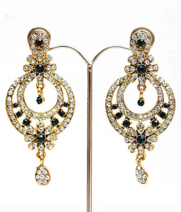 Lucky Jewellery Green Stone Earring