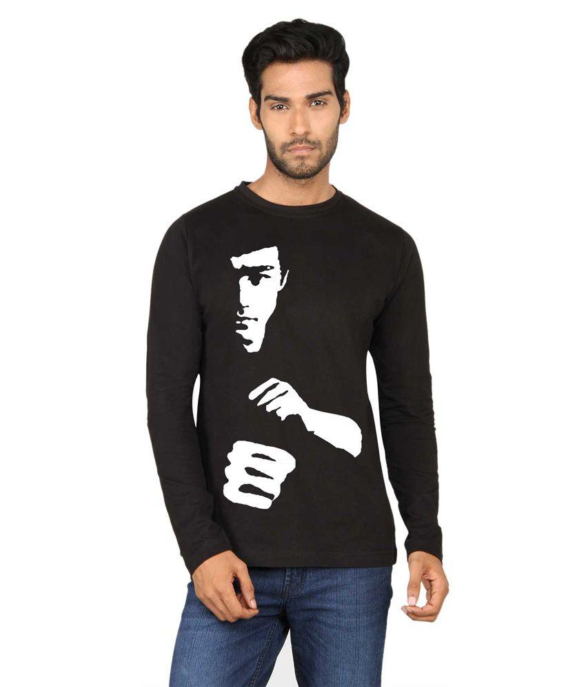 Say It Loud Bruce Lee Printed Black Full Sleeve T Shirt