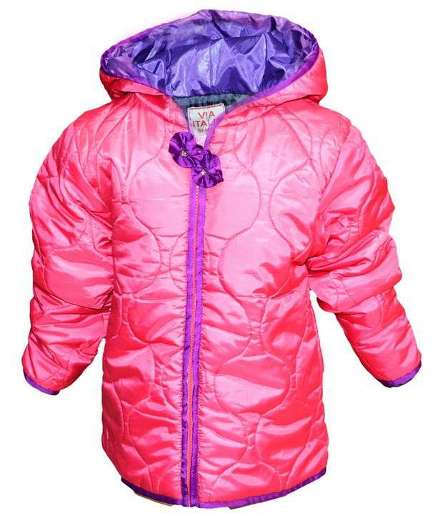 Via Italia Pink Synthetic Padded Jackets For Kids