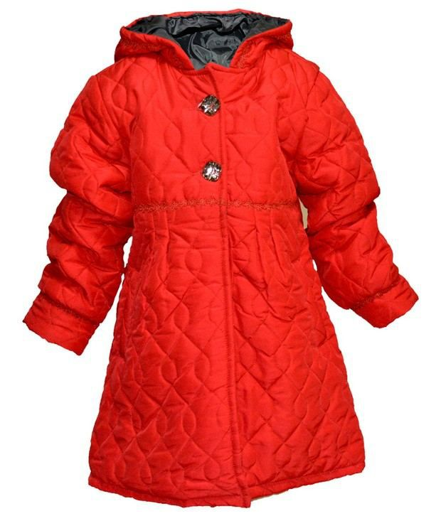 Via Italia Red Synthetic Padded Jackets For Kids