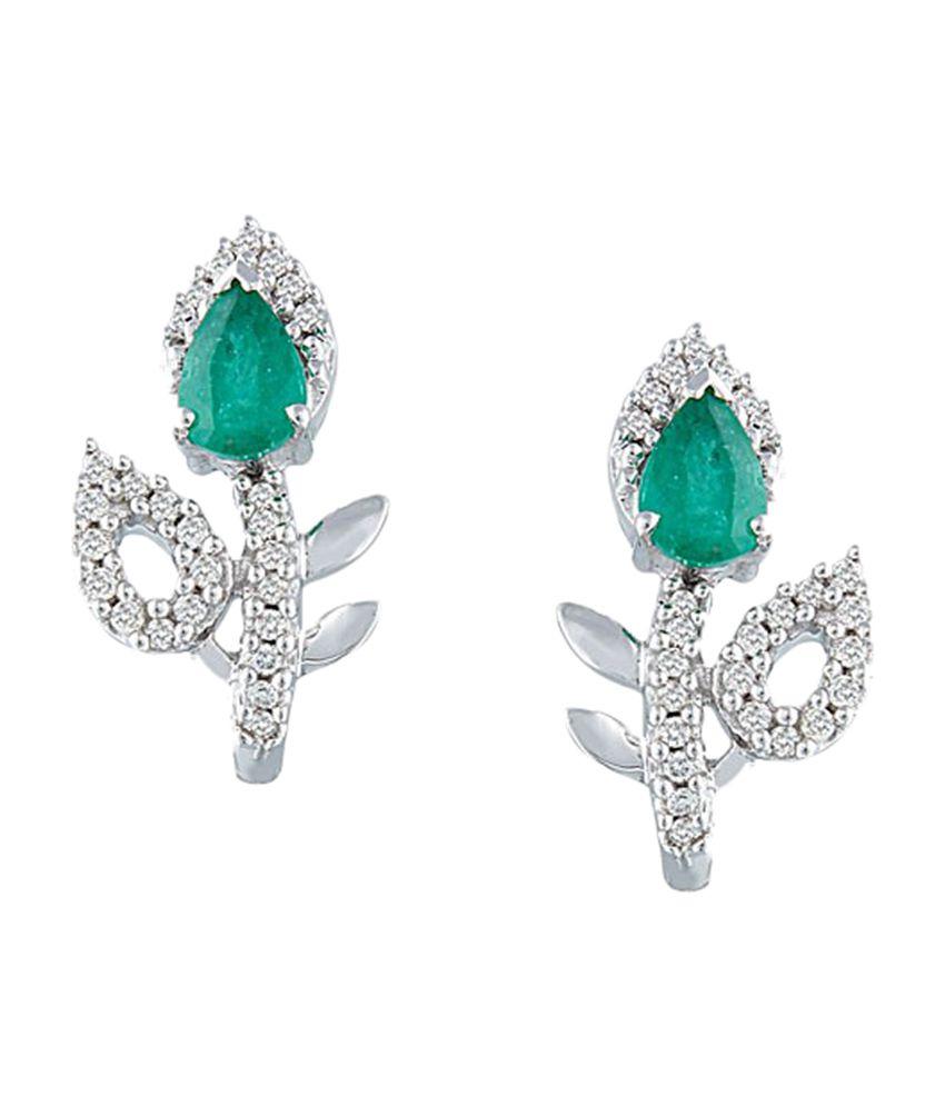 Envi Floral Design Green Stone Diamond Stud