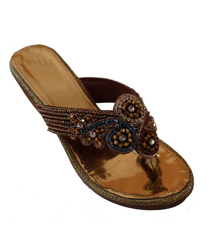 Handicrafts Gold Heeled Slip-On