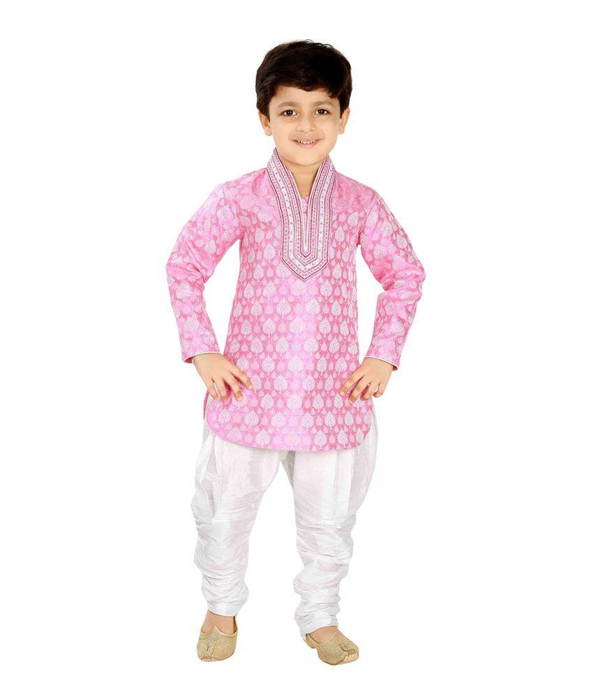 Jeet Stylish Pink Work Kurta Pajamas For Boys