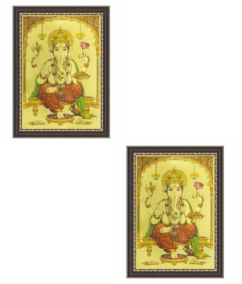 Painting Mantra Ganesh Ji Gold Foil Medium Print Framed buy 1 get 1 free