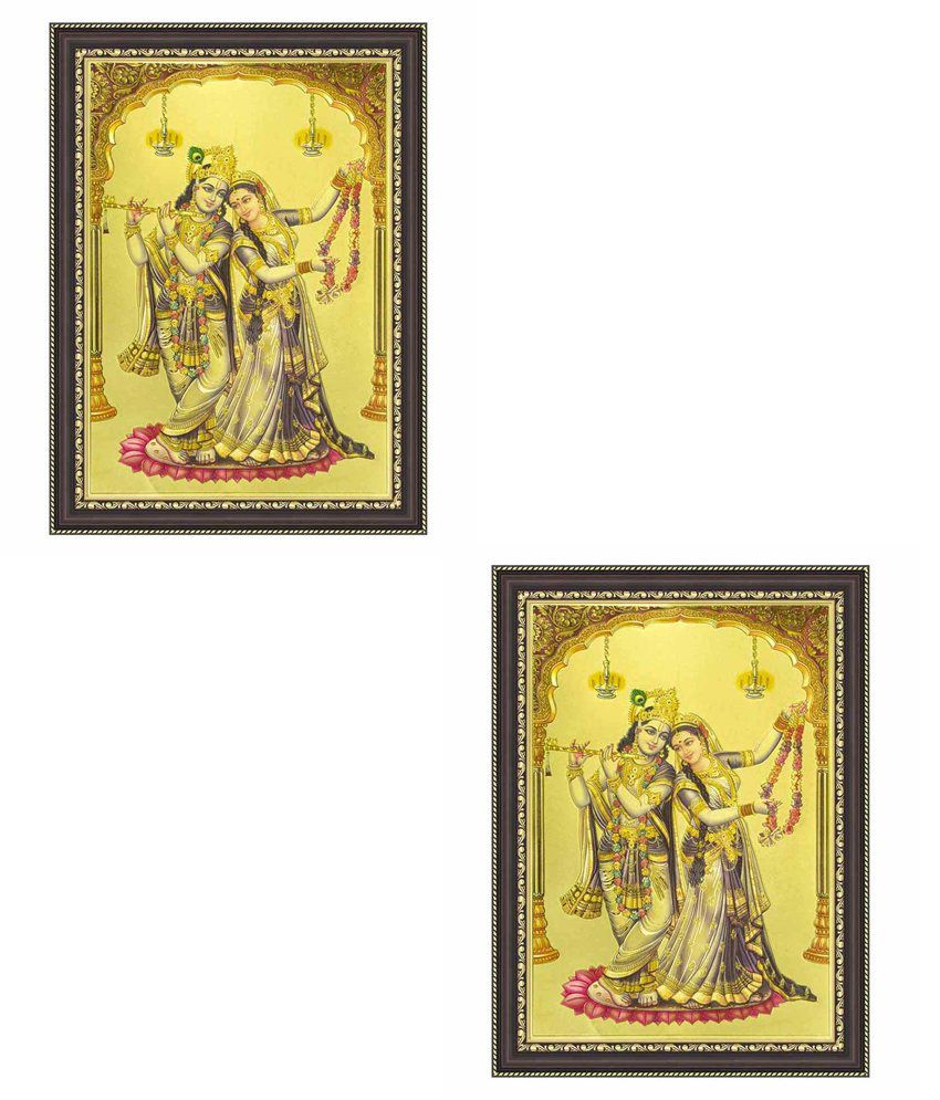 Painting Mantra Radha And Krishna Ji Gold Foil Small Print Framed ...