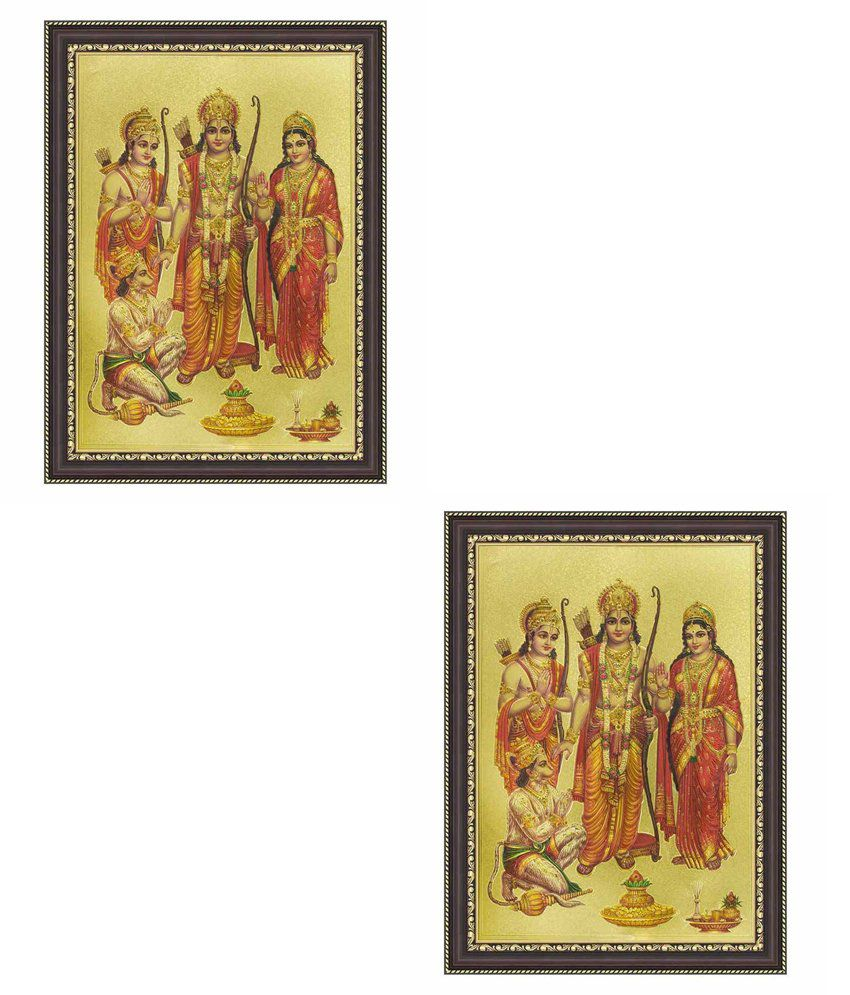Painting Mantra Ram Darbar Gold Foil Small Print Framed buy 1 get 1 free
