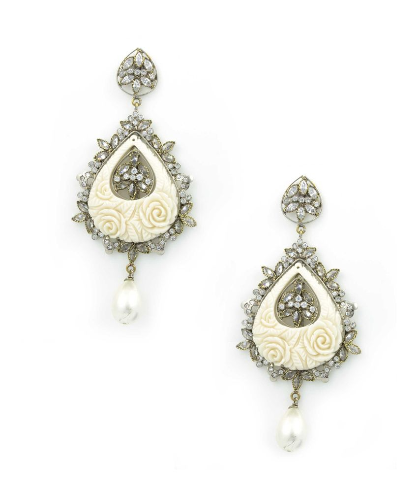 Orniza Victorian Earrings with Floral Carved Semi precious Stone (Pearl)