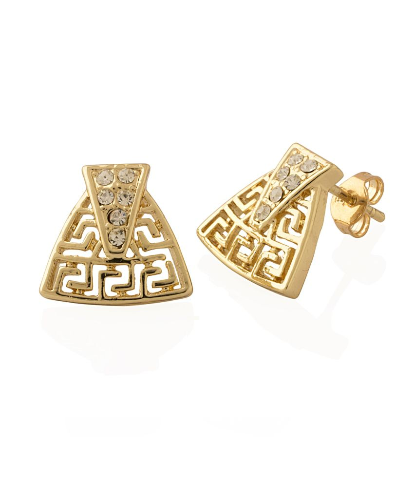 Voylla Charming Studs Featuring CZ Stone With Filigree Design