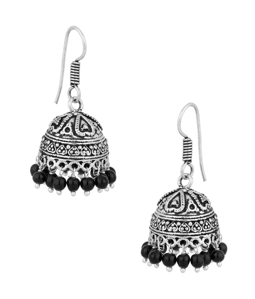 Voylla Gorgeous Pair Of Jhumki Earrings With Black Color Beads