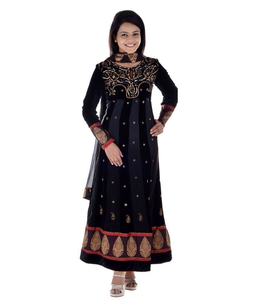 Aruna Sighs Fashion Studio Desinger Anarkali Kurta In Pure Velvet And Net With Churidaar And Net Dupatta