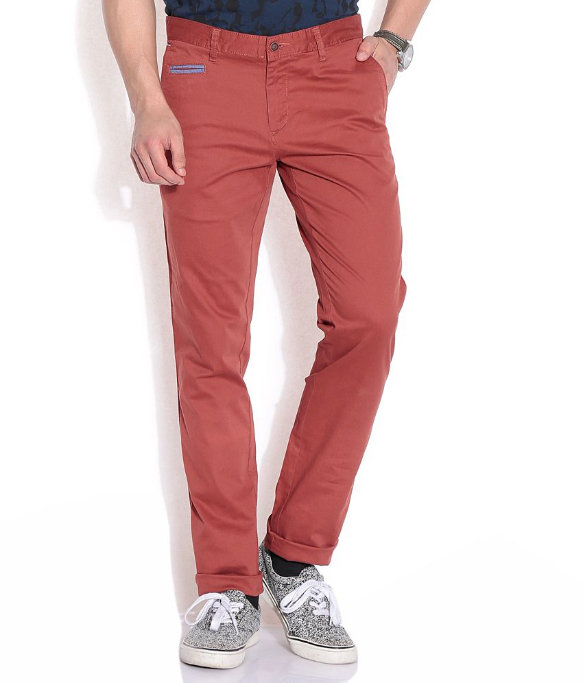 Cherokee Red Regular Casuals Trousers & Chinos