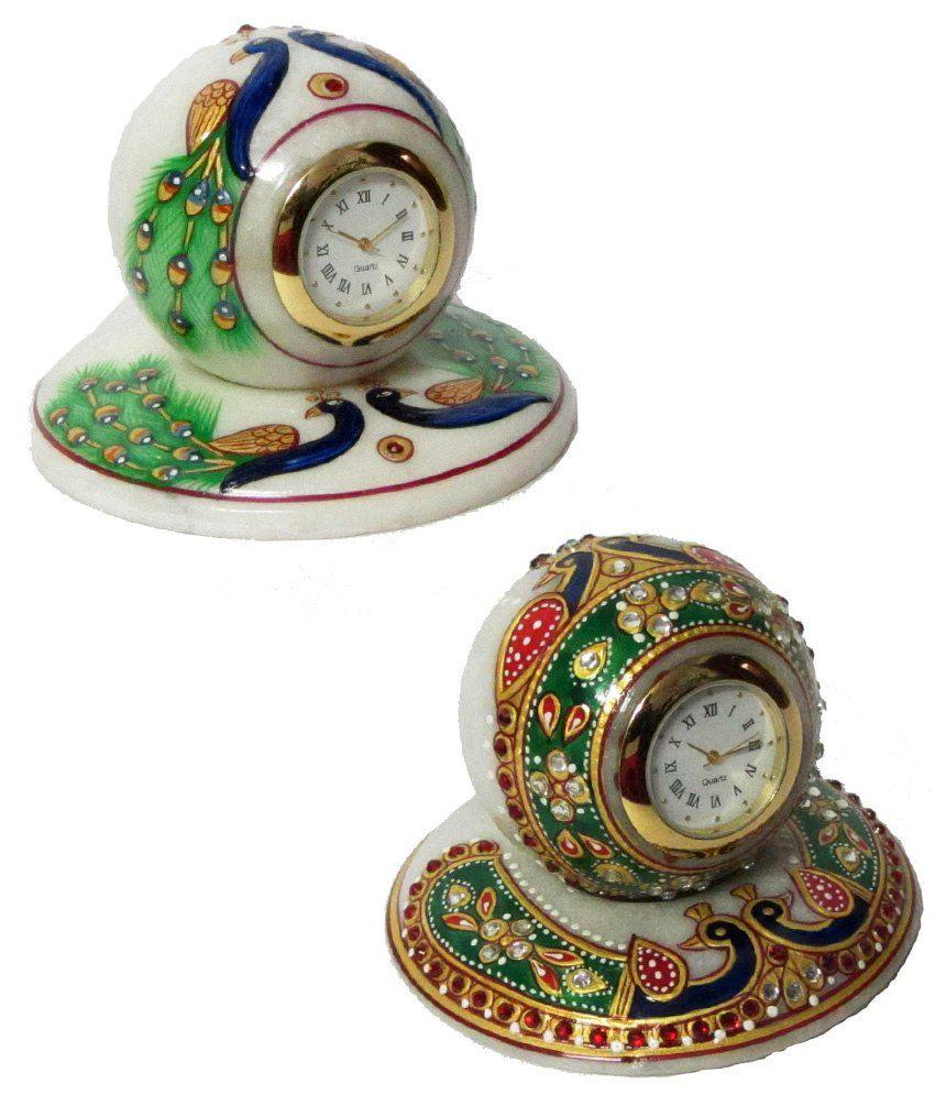 eCraftIndia Multi-colour Makrana Marble Colourful Stone Studded Table Clock Buy 1 Get 1